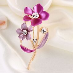 Brooches & Pins - colorful drop stone crystal rhinestone open floral flower leaf pin brooch Image.