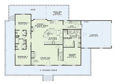 Farmhouse Style House Plan - 3 Beds 3 Baths 1921 Sq/Ft Plan #17-415 Floor Plan - Main Floor Plan - Houseplans.com
