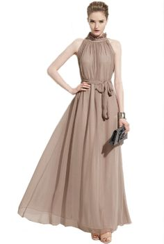 Superbaby Women Summer Chiffon Ruffle Neck Sleeveless Evening Ball Gown Long Maxi Dress