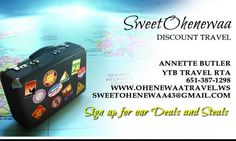 Ohenewaa Travel - We love help you save on travel and helping you book the best deal possible for you. Are you responsible for setting up the family reunion, the class reunion, your church/organizations travel trips, or would you love to do a group cruise? Book today.