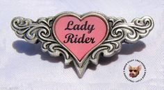 LADY RIDER HEART PEWTER VEST PIN ** MADE IN USA BY GREMLIN RIDE BELLS ** LADIES | eBay