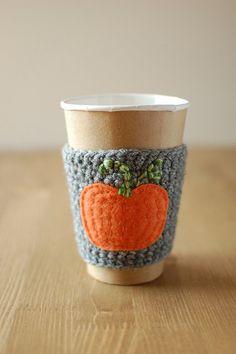 Pumpkin Coffee sleeve Reusable Coffee Cozy by thecozyproject