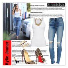 """""""Street Style: Kylie Jenner"""" by marion-fashionista-diva-miller ❤ liked on Polyvore featuring 7 For All Mankind, American Vintage, Christian Louboutin, Cartier, Rolex and Chanel"""