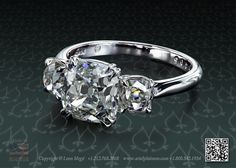 Classic three stone engagement ring with 3 carat cushion cut diamond stone by Leon Mege