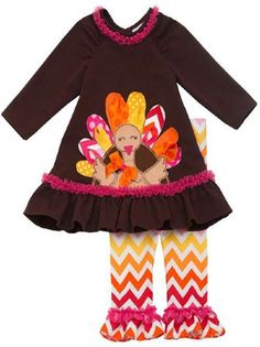 Girls Thanksgiving Outfit 2014 Rainbow Turkey Set<br>3 Months to 6X<BR>Now in Stock