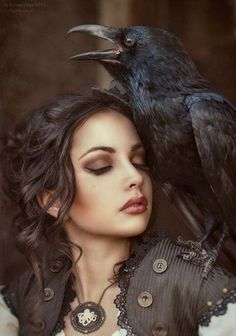 """The lady and the raven.  Found on imgfave.com Ravens and Crows in Mythology - Source:  diffen.com Crows are associated with war and death in Irish mythology. In Cornish folklore crows are associated with the """"otherworld"""" and so must be treated with respect. In Australian Aboriginal mythology, the crow is an ancestral being. In Buddhism a crow in one of his physical/earthly forms that represents the protector of the Dharma.  It is revered as god by the indigenous peoples of the Pacific…"""