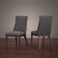 Park Avenue Smoke Linen Dining Chair (Set of 2), Grey (Wood)
