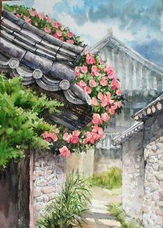 Watercolor Architecture, Watercolor Landscape, Watercolour Painting, Watercolor Flowers, Painting & Drawing, Landscape Paintings, Korean Art, Asian Art, Town Drawing