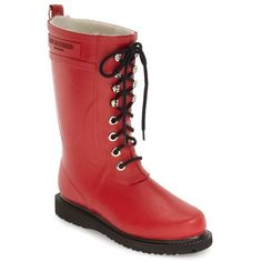 Women's Ilse Jacobsen Hornbaek Rubber Boot ($189) ❤ liked on Polyvore featuring shoes, boots, deep red, mid-calf boots, lightweight boots, red mid calf boots, waterproof wellington boots, mid calf boots and rubber boots