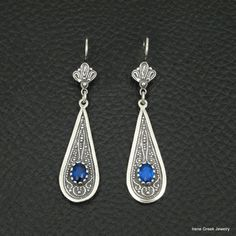 Blue Sapphire Cz Earrings Byzantine Style 925 Sterling Silver