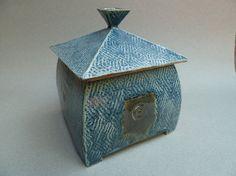 Lidded Textured Ceramic Box with Blue and by ClayStudioDesigns Ceramic Boxes, Clay Studio, Decorative Boxes, Ceramics, Artwork, Blue, Design, Home Decor, Ceramica