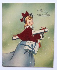 Vintage Christmas Card Pretty Girl Dress Flocked Coat Fur Hat Box Present Snow Christmas Card Images, Vintage Christmas Cards, Vintage Holiday, Xmas Cards, Christmas Greetings, Christmas Themes, Blue Christmas, Retro Christmas, Christmas Illustration