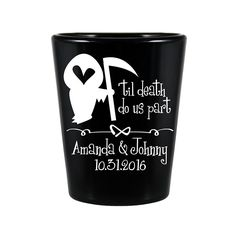 "100x Halloween Wedding Favors Black Shot Glasses   1.5 oz   Til Death Do Us Part (1A) Grim Reaper   Choose Imprint Color   by ""ThatWedShop"" on Etsy   #ThatWeddingShop"