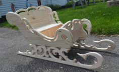 """36"""" Handcrafted Victorian Wood Sleigh / Christmas Sleigh / Christmas Photography Prop / Christmas Decoration / Wooden Sleigh"""