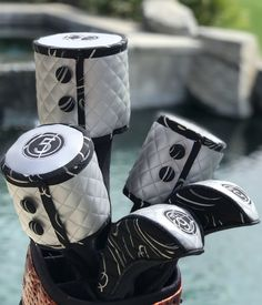 Golf Gear By Darcee Golf Club Headcovers, Golf Club Covers, Cork Fabric, Coordinating Colors, Golf Outfit, Golf Bags, Golf Clubs, Gears, Accessories