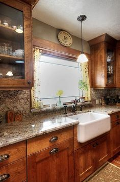 Country Kitchen - Glass cabinets, farm house sink, cabinet color, window over sink, everything's perfect Farmhouse Kitchen Cabinets, Farmhouse Style Kitchen, Kitchen Redo, New Kitchen, Kitchen Ideas, Rustic Farmhouse, Kitchen Backsplash, Backsplash Ideas, Kitchen Country