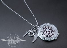 """Sacred Arrow Diffuser Jewelry   Home > April 3 Upload > 18"""" Silver Diffuser Necklace with Faith Charms"""