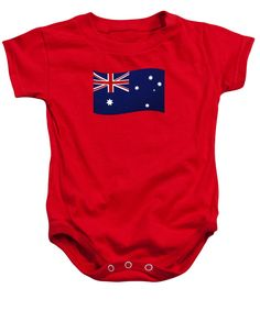Photography Baby Onesie featuring the photograph Australian Flag Waving Png By Kaye Menner by Kaye Menner