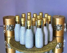 Customized Champagne Bottles by Glitter Champagne Bottles, Gold Bottles, Mini Wine Bottles, Edible Wedding Favors, Wedding Party Favors, Diy Wedding, Wedding Decor, Bottle Manufacturers, Plastic Bottle Caps