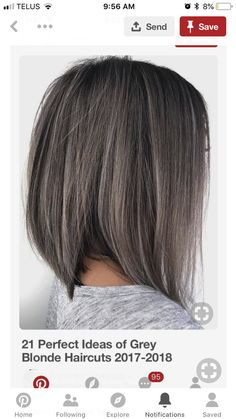 Might be time to start embracing all my grey hair……. Love the… Might be time to start embracing all my grey hair……. Love the cut like the color Blonde Haircuts, Dream Hair, Ombre Hair, Balayage Hair Grey, Silver Hair, Hair Highlights, Hair Lengths, Hair Trends, Hair Inspiration