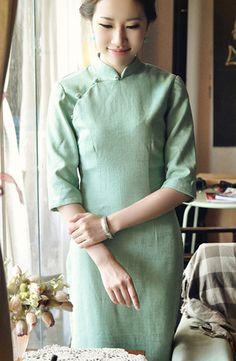 Middle Sleeve Green Linen Cheongsam,Chinese Dress