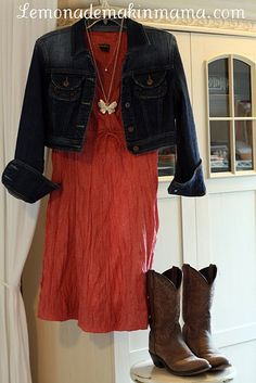 Red dress, denim jacket & cowgirl boots!