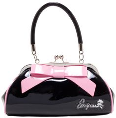 "SOURPUSS FLOOZY PURSE BLACK W/ LIGHT PINK BOW - Look like a million bucks with our Floozy Purse! This vintage-inspired, black vinyl handbag features a baby pink, 7"" vinyl bow with matching piping, kiss lock closure, sturdy handles, circular metal feet annnnnnd... ""Sourpuss"" hardware."