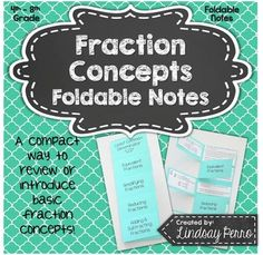 Fraction Concepts Fold and Flip Notes Simplifying Fractions, Teaching Fractions, Math Fractions, Teaching Math, Math Lesson Plans, Math Lessons, Math Notebooks, Interactive Notebooks, Math Resources
