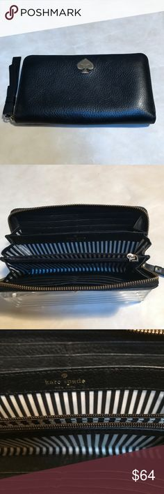 Kate Spade Jackson Wallet Kate Spade like new  Jackson zip  around wallet.  Leather w/ stripe lining.  Exterior slip pocket, 2 interior slip pckts, 12 interior card slots . Black with gold hardware & gold logo.  Like new & Barely used . Kate Spade Bags Wallets