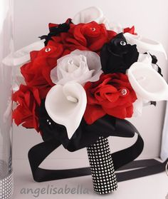 Angel Isabella Bouquet & Boutonniere Set:Black and Red Rose and White Calla Lily Bridal Wedding Prom Flowers, White Flowers, Red Roses, Wedding Flowers, Flower Bouquets, Silk Flowers, Wedding Kiss, Rose Wedding, Dream Wedding