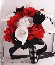 3pcs set:Bridal Bouquet,Boutonniere,Kissing Ball.Apple Red,Black,White.Wedding
