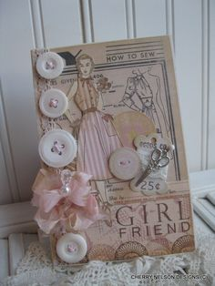 shabby chic 1950s lady GIRLFRIEND card- pattern sewing handmade card.