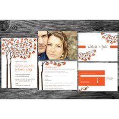 Lovely clean lines #weddinginvitation #orange #orangewedding #wedding #customwedding www.bigdogpots.net www.etsy.com/shop/bigdogpots