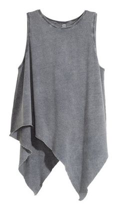See this and similar tank tops - Draped top: Sleeveless, draped top in jersey with an asymmetric, raw-edge hem. Grey Tank Top, Grey Shirt, Grey Top, Womens Sleeveless Tops, Sleeveless Shirt, Asymmetrical Tops, Chiffon Tops, Ideias Fashion, Tunic Tops