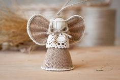 Burlap Angel Christmas Ornament Christmas Tree by MaliLili on Etsy