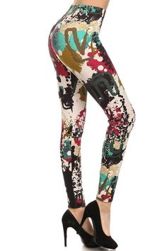 6958c65f4a10b PAINT Print Brushed Ankle ONE SIZE Leggings