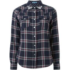 Guild Prime Bejeweled Collar Plaid Button Down Shirt (€175) ❤ liked on Polyvore featuring tops, plaid top, navy button down shirt, navy blue plaid shirt, button down shirt and button up shirts