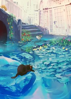 Image discovered by hana khue. Find images and videos about art, anime and cat on We Heart It - the app to get lost in what you love. Art Inspo, Inspiration Art, Art And Illustration, Fantasy Artwork, Anime Pokemon, Fantasy Anime, Anime Scenery, Aesthetic Art, Aesthetic Anime