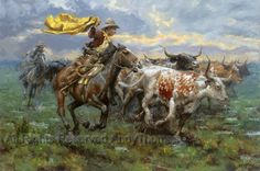 Storm Chasers by Andy Thomas ~ cowboys rounding up longhorn cattle Vision Art, West Art, Cowboys And Indians, Cowboy Art, Historical Art, Le Far West, Country Art, Old West, Art Techniques