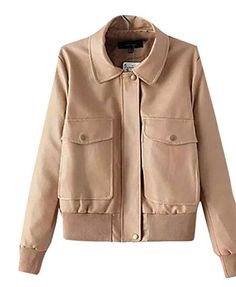 Lingswallow Women's Pocket Lapel Motorcycle Faux Leather Short Jacket Coat Khaki * You can get more details at http://www.amazon.com/gp/product/B014CUTFUE/?tag=clothing8888-20&pij=010816104049