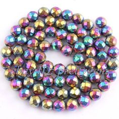 6MM-ROUND-FACETED-RAINBOW-HEMATITE-LOOSE-GEMSTONE-BEADS-STRAND15-NOT-MAGNETIC