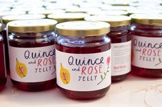 Quince and Rose Jelly Labels for Red Stone ~ Charlotte Trounce Honey Packaging, Jar Packaging, Food Packaging Design, Pretty Packaging, Retail Packaging, Quince Fruit, Quince Jelly, Fruit Logo, Food Retail