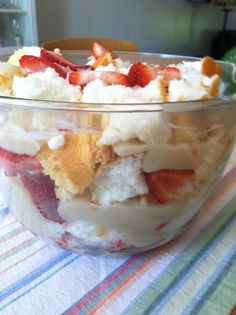 Flying Fork: Strawberry trifle  1 already made angel food cake  1 can condensed milk  1 can strawberry pie filling  1 container of fresh strawberries (wash and slice strawberries)  1 small container cool whip  1 small package chopped pecans  layer ingredients as listed, place int he refrigerator for a couple of hours and enjoy!