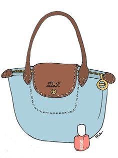 A day in the life of me.longchamp and essie All Things Cute, Girly Things, Longchamp, Preppy Style, My Style, Bag Illustration, Preppy Southern, Fashion Sketches, Drawing Fashion
