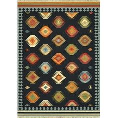 Hand Woven Cordova Black Wool Rug (7'6 x 9'6) | Overstock.com Shopping - The Best Deals on 7x9 - 10x14 Rugs
