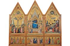 Part of the Stefaneschi Polyptych, which depicts the enthroned St. Peter on one side and...