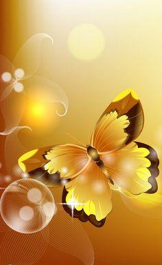 GOLDEN BUTTERFLY!  Digital Art.