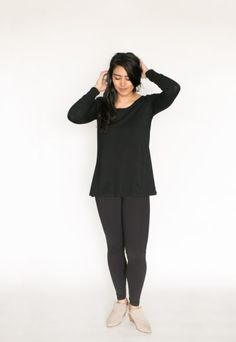 Made out of ultra soft bamboo cotton fabric our Long Sleeve Tee is flattering and SO comfortable. Get yours today. Comfortable Outfits, Bamboo, Cotton Fabric, Long Sleeve Tees, Normcore, Tank Tops, Fall 2016, Body Types, Loose Fit