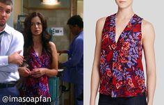 I'm a Soap Fan: Sabrina Santiago's Red and Blue Floral V-neck Top - General Hospital, Season 53, Episode 118, 09/15/15 #GH Wardrobe worn on #GeneralHospital