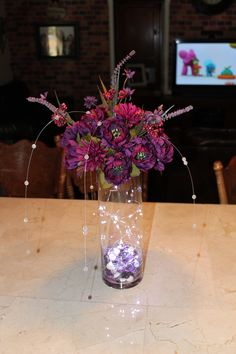 Purple centerpieces with waterproof lights Burlap Centerpieces, Glass Vase, Lights, Purple, Water, Home Decor, Gripe Water, Decoration Home, Room Decor